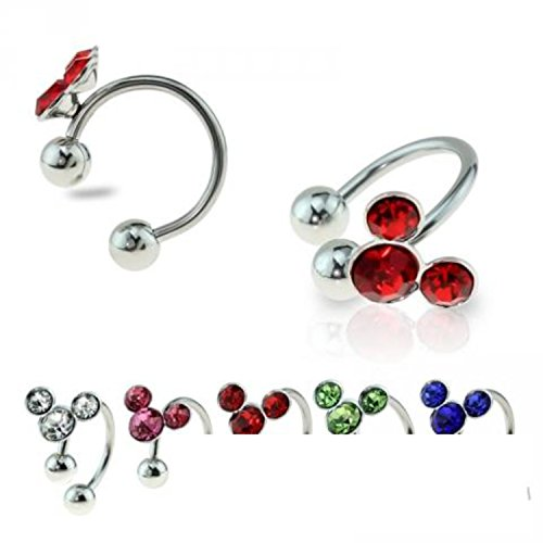 Little Aiden Silver Mouse Horseshoe Cartilage Earring with Color Gem 316L Surgical Steel Size 16GA 3/8 (Red)