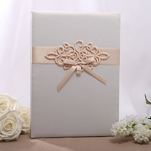 KateMelon Champagne Scroll Guest Book, Tri-Fold Blank Pages, Blush Ivory
