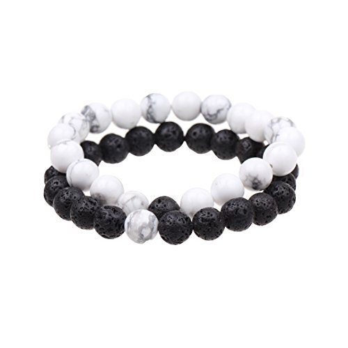 TSK Couples His and Hers Bracelet White Howlite&Black Lava Beads Yin Ying Matching Distance Bracelet Anniversary Gift