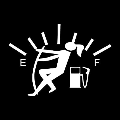 Funny Gas Guage Girl Vinyl Decal Sticker | Cars Trucks Vans SUVs Windows Walls Cups Laptops | White | 5.5 Inch | KCD2436: Automotive [5Bkhe0909185]