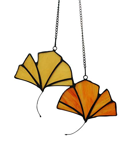 Ginkgo Stained Glass Window - Alivagar Stained Glass Leaf Window Hangings Ginkgo Leaves, 4