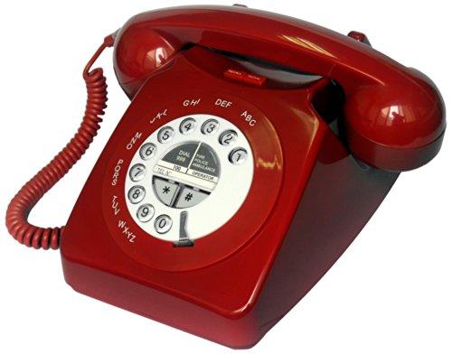 Geemarc MAYFAIR schnurgebundenes Nostalgietelefon mit Retrodesign und klassischen Klingelton - Rot - Deutsche Version