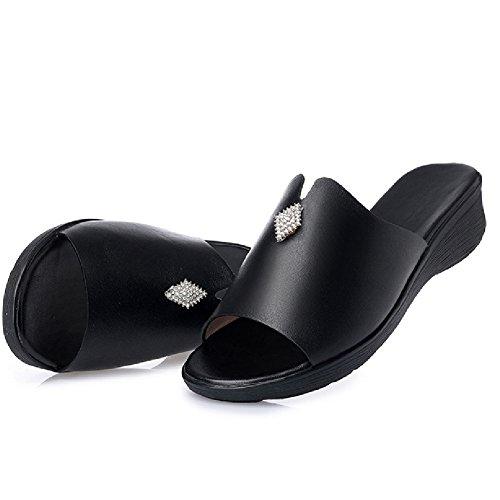 Btrada Mode Sandales Compensées Pour Les Femmes Été Anti-dérapant Diapositive Chaussures Noir