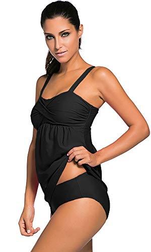 Agreya Women Two Pieces Swimwear Tankini Top with Triangle Bikini Simsuits (Black, XXL)