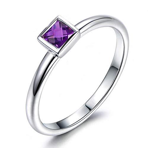 - ANAZOZ Rectangular Purple 4x4MM Amethyst Rings Wedding Ring 925 Silver Sterling Size 8.5