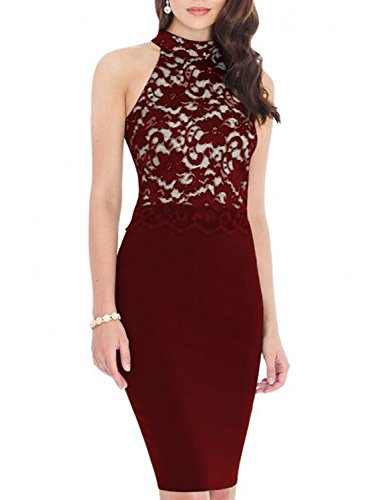 MABELER-Women-Vintage-Floral-Lace-Turtleneck-Strapless-Halter-Party-Pencil-Dress-S-Burgundy