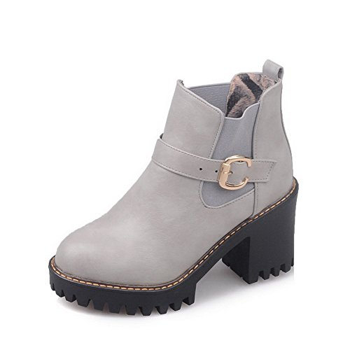 AllhqFashion Womens Solid High-Heels Round Closed Toe PU Pull-On Boots Gray zwTSwSto