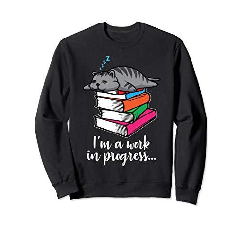 Funny Lazy Cat Kitten Sleeping on Books Cute Gift Sweatshirt