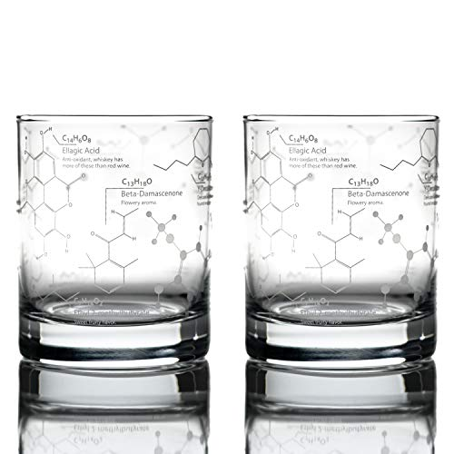 Greenline Goods Whiskey Glasses - 10 oz Tumbler Gift Set - Science of Whisky Glasses (Set of 2) Etched with Whiskey Chemistry Molecules   Old Fashioned Rocks Glass