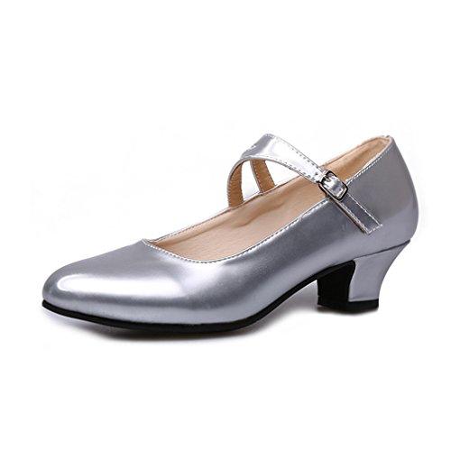 BYLE Sandalias de Cuero Tobillo Samba Jazz Moderno bajo los Zapatos de Baile Zapatos de Baile Latino Femenino Boca Superficial Solo Zapatos Plata 35cm Onecolor