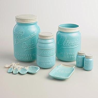 Mason Jar Ceramic Kitchenware  Complete Set : Measuring Cups and Spoons, Cookie Jar, Utensil Crock, Spoon Rest, Salt and Pepper Shaker