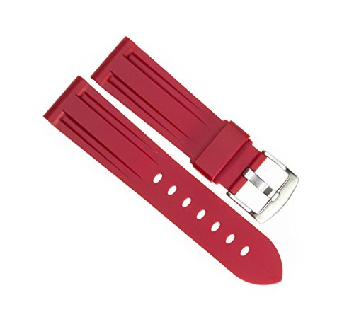 Strap Red Diver Watch Band fits PANERAI with Brush Stainless Buckle (Panerai Rubber Band)
