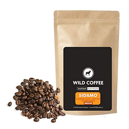 Wild Coffee, Organic Austin Roasted Small-Batch Whole Bean, 100% Arabica, Fair Trade, Single-Origin, Low Acid, Grade 1 (Sidamo Medium Roast, 12 ounce)