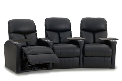 Octane Seating BOLT-R3CM-BND-BL Octane Bolt XS400 Leather Home Theater Recliner Set (Row of 3) by Octane Seating