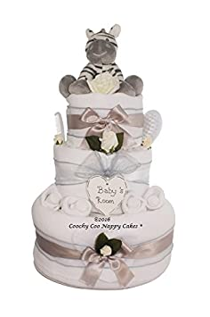 Unisex zebra Nappy Cake Newborn Baby Shower Gift hamper FREE Delivery Coochy Coo Nappy Cakes®