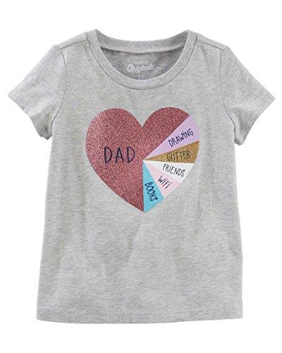 OshKosh B'Gosh Girls' Graphic Tee (2T, Grey/Glitter Heart)