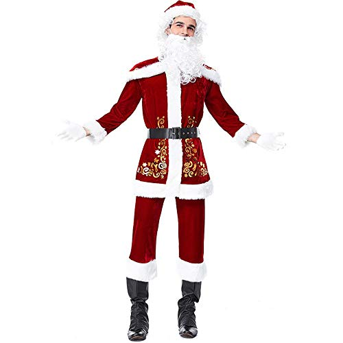 Mr Christmas Mens Costume Couples Costume Santa Claus Cosplay Party Outfit with Beard and Wig ()