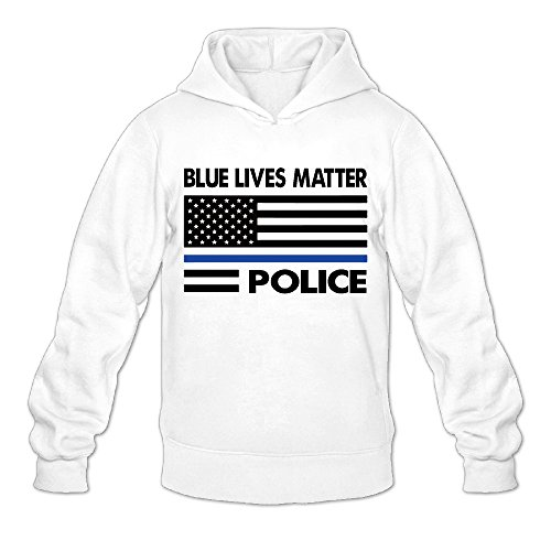 Blue Lives Matter Usa Flag Police Classic Men's Hooded Sweatshirts White M ()