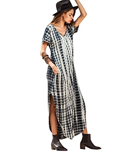 (MAKEMECHIC Casual Maxi Short Sleeve Split Tie Dye Long Dress Grey S)
