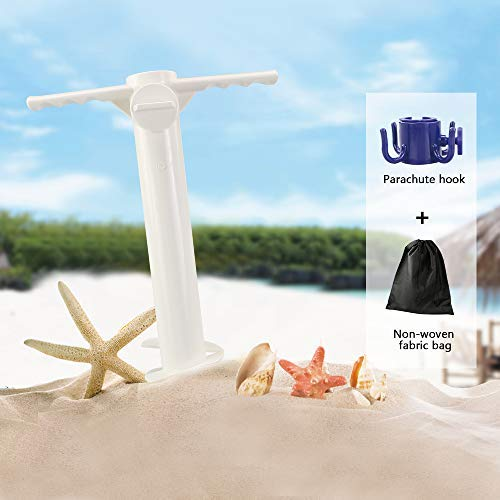 (Buluri Beach Umbrella Sand Anchor, One Size Fits All, Safe Stand for Strong Winds, Stand Holder with 3-Tier Screw, Sand Auger/Umbrellas/Tents/Fishing Poles)