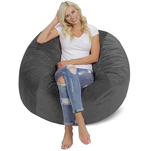 Chill Sack Bean Bag Chair: Giant 4' Memory Foam Furniture Bean Bag - Big Sofa with Soft Micro Fiber Cover - Grey Pebble