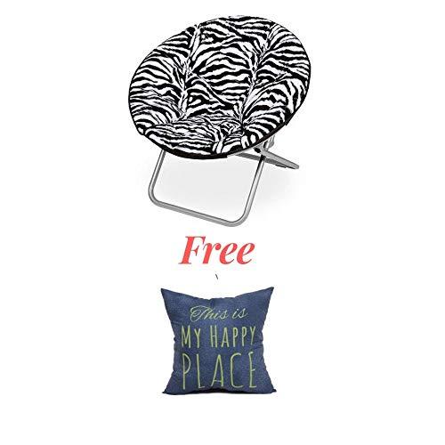(Luxury Padded Faux-Fur Saucer Chair, (Zebra Toss Pillow))