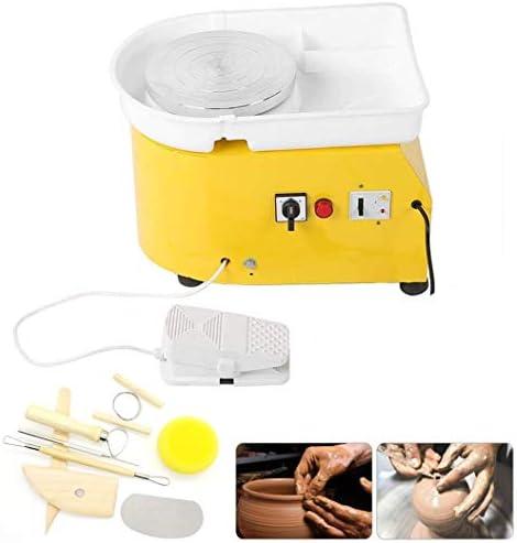 電気陶器ホイールマシン陶器ホイール成形機DIYクレイツールフットペダルと取り外し可能な洗面器、オレンジ、250 w