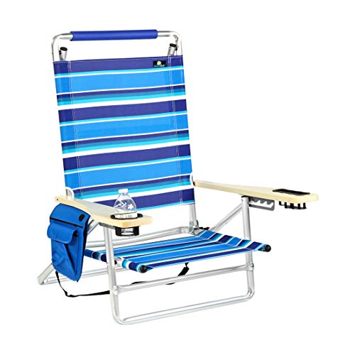 Deluxe 5 Reclining Positions Lay Flat Aluminum Beach Chair with Cup Holder 250 lb Load Capacity -