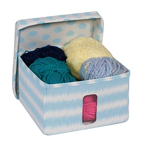Everything Mary Small Craft Organizer Storage Box with Window | Collapsible Portable Yarn Knitting Crocheting and Sewing Storage Bin with Lid | Craft Organization Storage for Knitting Needles & Yarn