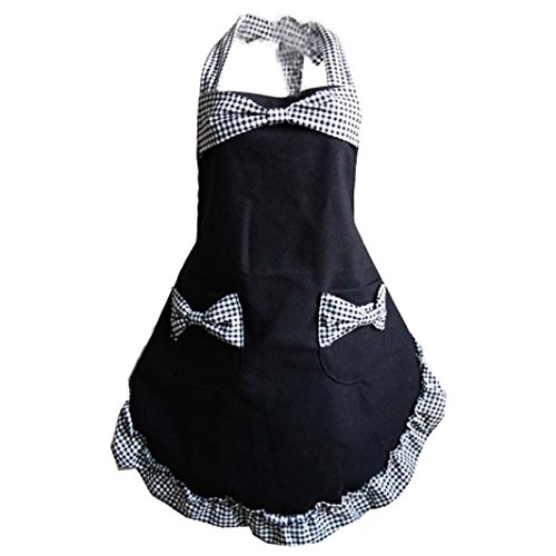 [Iuhan Fashion Women Home Kitchen Bib Cooking Apron With Pockets Bowknot Lace Canvas (C)] (Japanese Maid Cafe Costume)