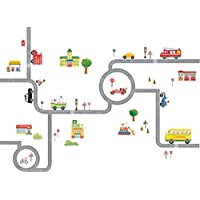 Decowall DA-1404 The Road and Cars Kids Wall Decals Wall...