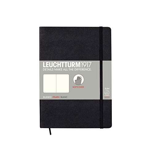 Leuchtturm Softcover Medium A5 Plain Notebook, Black