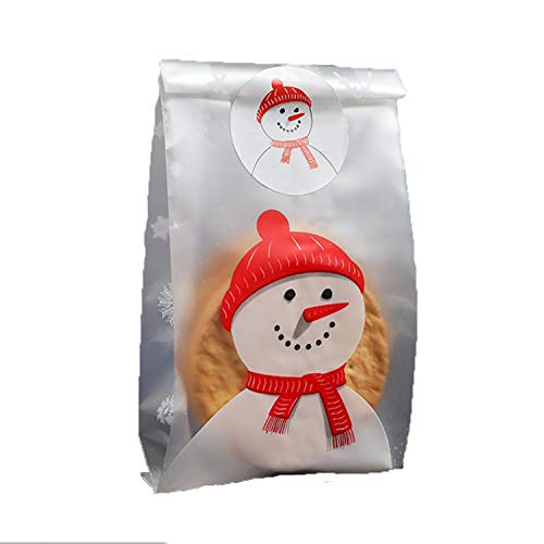 SCHOLMART Clear Flat Cello Cellophane Gift Treat Bags for Bakery, Cookies, Candies, Dessert, Christmas Snowman, Buddies Holiday, with Santa Claus Stickers (50 Pack) (3.5 x 9 Inch, Snowman)