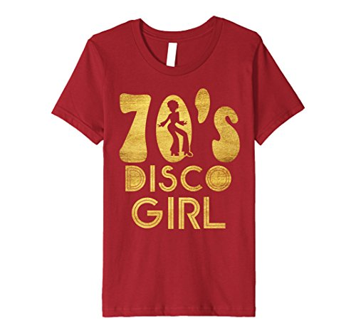 Kids 70's Disco Girl T-Shirt - Seventies Halloween Tee 6 Cranberry