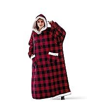 ZZYZN Paar lange fluwelen luipaarddeken zachte hoodie sweatshirt deken, tv-deken met mouwen en zakken, comfortabele casual draagbare deken, één maat, voor volwassenen, vrouwen, mannen