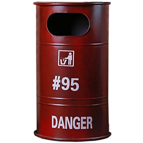 Trash can Industrial Wind Iron Art Oil Drum Trash Can Big Bar Bar Cafe Coffee House Creative Storage Bin Trash Household Garbage Storage (Color : Red)