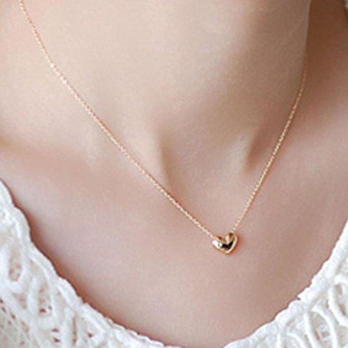 Hemlock Lovers Necklaces, Women Girl's Love Heart Necklace Classic Heartbeat Necklace Dress Necklace (Gold-2)]()