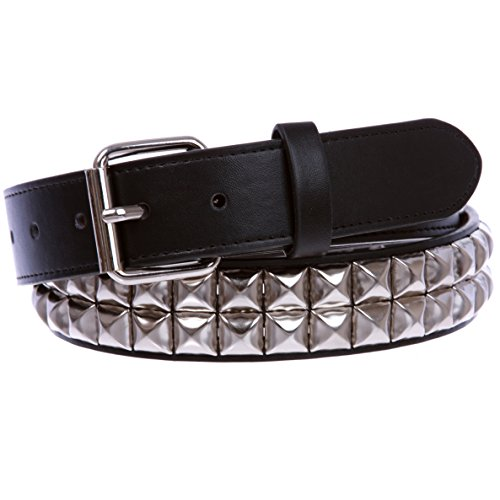 "1 1/4"" (33 mm) Snap On Two Row Punk Rock Star Silver Studded Leather Belt, Black 
