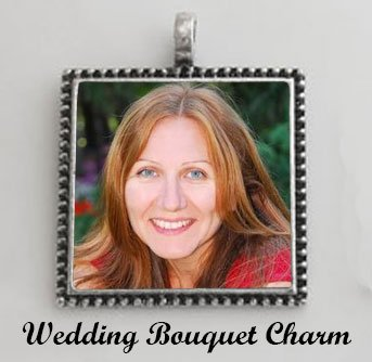 Wedding Bouquet Square Photo Charm Beaded Edge Antique Silver