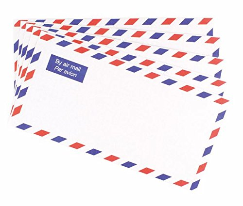 Airmail Printed Enevlopes DL Size 70gsm Strong Lightweight Posting International (pack of 50)