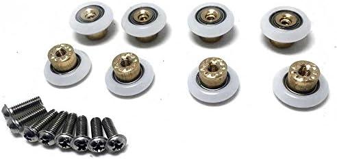 8 pcs puerta de la ducha rodillos/corredores/ruedas/poleas de 23 mm de diámetro baño piezas de recambio, color blanco: Amazon.es: Bricolaje y herramientas