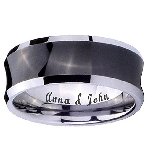 5MM Tungsten Carbide Concave Black Two Tone Ring Size 9 (Concave Tungsten Carbide Band Ring)