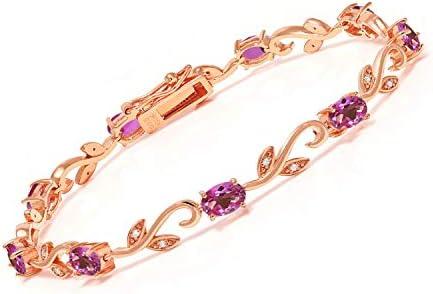 Gem Stone King 463 Ct Pink Mystic Topaz White Diamond 18K Rose Gold Plated Silver Bracelet