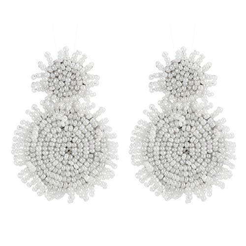 Dangle Tassel Beaded Earring Bohemian Style Beaded Tassel Ear Nail Vintage Drop Earring Lady Jewelry Girl (white)