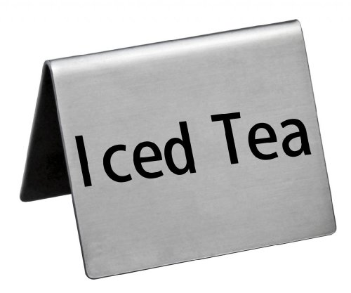 New Star Foodservice 27129 Stainless Steel Table Tent Sign, ''Iced Tea'', 2-Inch by 2-Inch, Set of 6 by New Star Foodservice