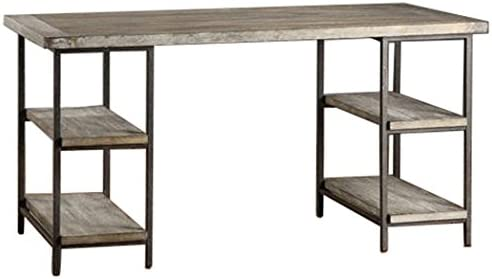 Renate Contemporary Wood-Metal Home Office Table Modern Computer Desk Grey