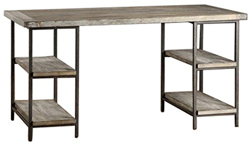 Renate Contemporary Wood-Metal Home Office Table Modern Computer Desk (Grey) - Renate Contemporary Wood-Metal Home Office Table Modern Computer Desk Brown - writing-desks, living-room-furniture, living-room - 411OLzba%2B6L -