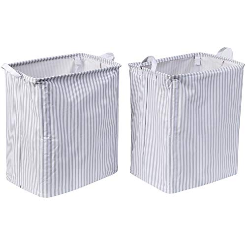 - XNWYTECH Laundry Hamper Collapsible | Set of 2 Laundry Basket for Bathroom (White Oxford Clothes with Grey Striped, 19.7