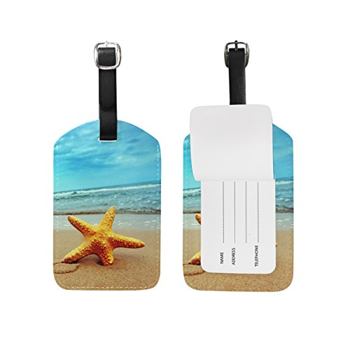 JSTEL Beach Starfish Blue Sky Luggage Tags Suitcase Labels Travel ID Identifier Privacy Cover Beach Theme Luggage Tag