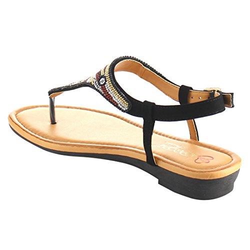 Dbdk Ae74 Dames Kralen T-strap Bohemen String Sandalen Schoenen Zwart